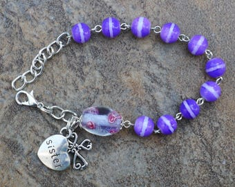 Silver - Sister - 8mm Purple Glass One Decade Catholic Rosary Bracelet