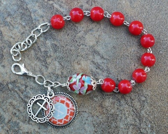 Silver - Alphabet Letter X - 8mm Red Glass One Decade Catholic Rosary Bracelet