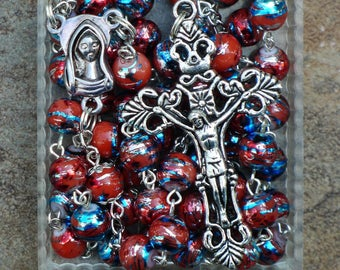 Silver - Mary - 8mm Orange with Colors Glass Catholic Rosary