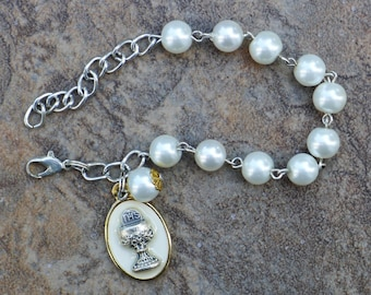 Silver - Girls First Communion - 8mm White Pearl Glass One Decade Catholic Rosary Bracelet
