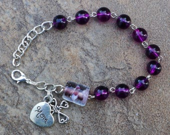 Silver - Mom - 8mm Purple Glass - One Decade Catholic Rosary Bracelet