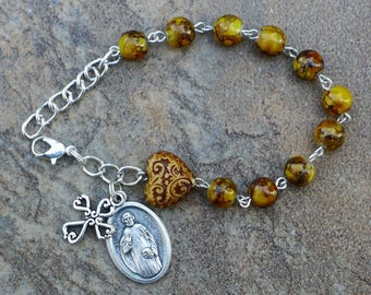 Silver - St Hugh  - 8mm Brown/Yellow Glass One Decade Catholic Rosary Bracelet