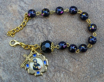 Gold - Jesus Christ - 8mm Black speckled Glass One Decade Catholic Rosary Bracelet