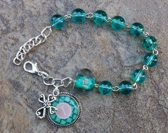 Silver - Alphabet Letter I - 8mm Turquoise Glass One Decade Catholic Rosary Bracelet