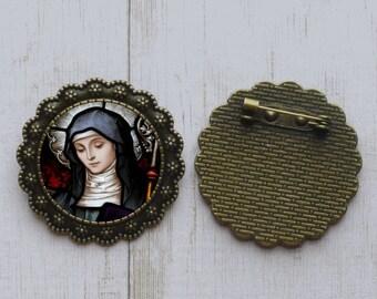 St Bridget of Sweden Catholic Necklace Bronze Medal w Chain Oval Pendant Saint Vintage