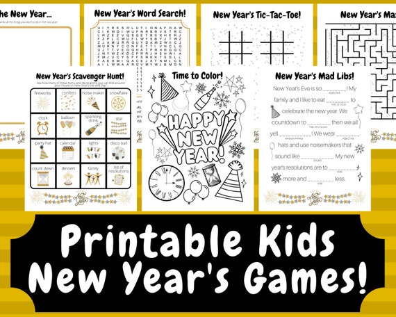 Printable New Year's Games New Year's Eve Kids Games