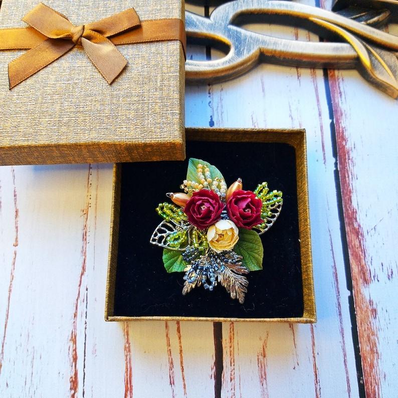 Beaded Flower Brooch Flower Brooch Bridal Brooch Green Yellow Brooch Green Red Yellow Flower Wedding Brooch Pin Brooch Flower Bouquet Brooch