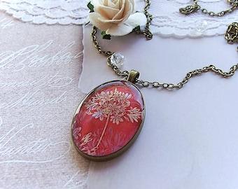 Resin Necklace Floral Pendant Dark Cherry Vinous Red Resin Pendant Antique Brass Pendant Epoxy Resin Jewelry Gift Boho Necklace
