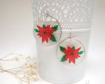 Resin Transparent Earrings Red Poinsettia Earrings Dangling Earrings Red Earrings Red Black Earrings Christmas Star Earrings Winter Jewelry