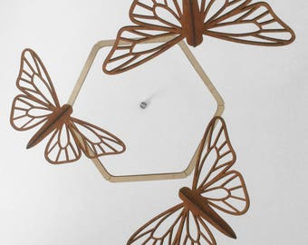 Moth/Monarch/Butterfly Mobile. Laser cut, wood, modern, hanging