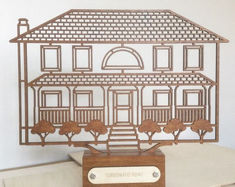 Custom house  portrait sculpture. Laser cut architectural drawing. Modern home accesory decor