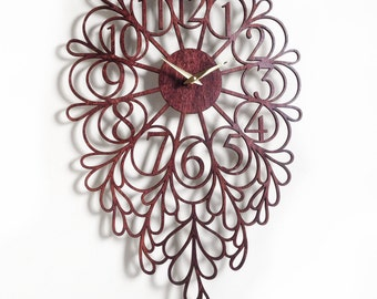 "16 x 24"" Darling wall Clock. Laser Cut, Modern, Unique, Boho, Wood, Wall Art, Decor."
