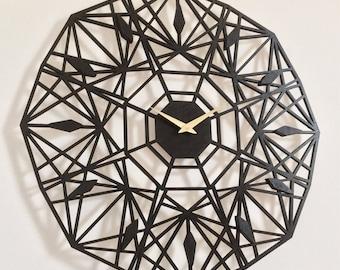 "19"" Sapphire Wall Clock, Large. Mid century, modern, Geometric, Unique, Wood, Wall Art, Decor."