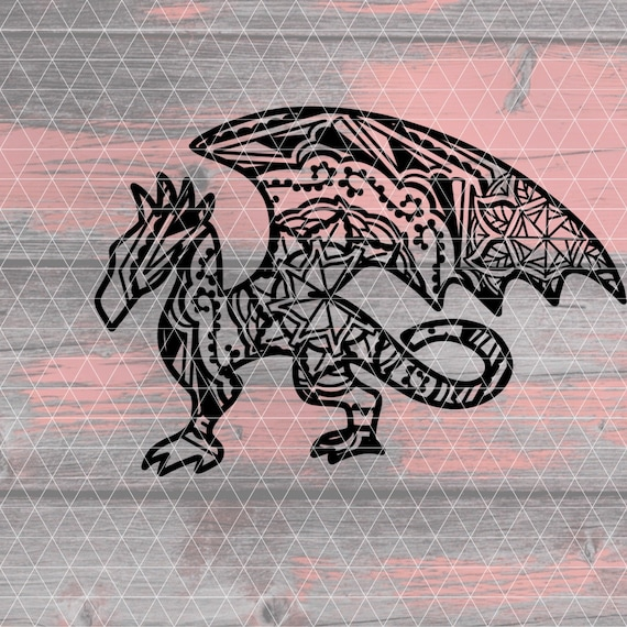 Dragon Mandala Svg Dragon Svg Mandala Svg Drachen Mandala Etsy