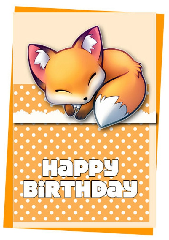 Fox Birthday Cards Ready To Print Blank Inside Can Be
