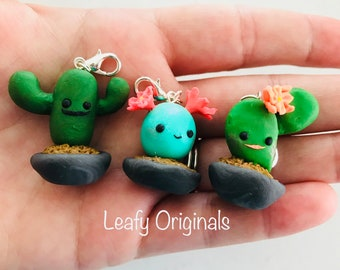 Polymer clay kawaii cactus family charm zipper pull stitch marker party favour key ring charm or small gift handmade in Australia