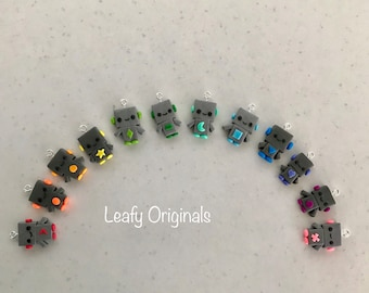 Cute polymer clay kawaii robot charm zipper pull stitch marker party favour key ring charm or small gift handmade in Australia