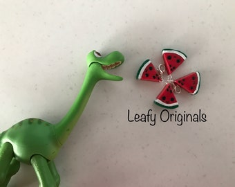 Polymer clay kawaii watermelon charm zipper pull stitch marker party favour key ring charm or small gift handmade in Australia