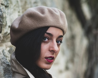 830f242c937 Light Brown beret- French beret - Warm hat for her - winter hat - Wool  beret - Winter woman hat