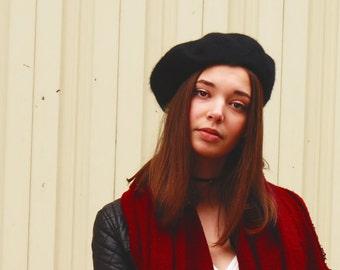 Black Angora Beret, Woman Winter Hat, Black Angora and Wool Beret, French Style Beret, Merino Warm Hat, Basque Wool Beret, Women Beret