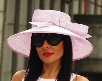 ca420056735a2 Lilac straw wide brim hat - Bow race hat - Women lilac hat - Wedding hat