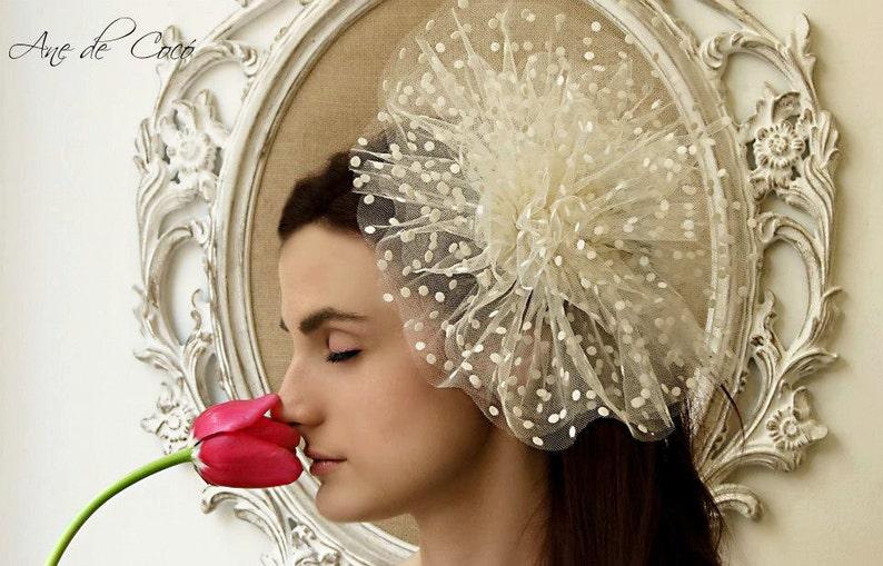 Tulle Bridal fascinator Wedding fascinator Bride White  61f95647b0d