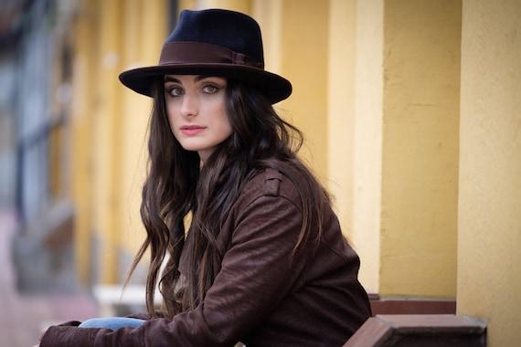 Navy blue fedora hat Navy blue felt hat Women hat Wide  1078d43b39f