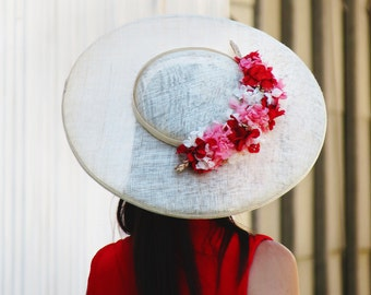 Red flower wide brim hat- Natural straw race hat - Wide brim hat with flowers - Straw wide brim hat