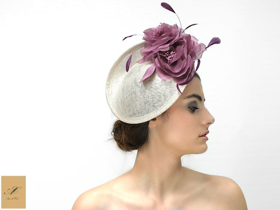 Ivory saucer hat with flowers Flower fascinator for women  4945f0722ce