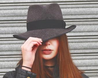 Gray Fedora Hat, Gray Plain Fur Felt Hat, Women Winter Hat, Rabbit Fur Felt Hat, Unisex Fedora Hat, Winter Fedora for Women