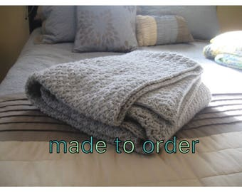 Made To Order Crochet Blanket, Custom Blanket, Gray Crochet Blanket, Blanket, Throw Blanket , Grey Throw Blanket, Chunky Crochet Throw, Croc