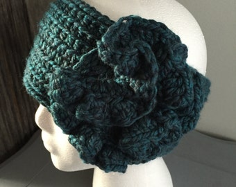Headband crocheted with Flower in Teal Turquoise