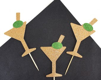 Martini Cupcake Toppers - Cocktail Cupcake Toppers - Dirty 30 Cupcake Toppers - Dirty 30 - Birthday - Decorations - Gold Glitter - Set of 12