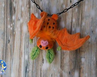 Orange fruit bat custom plushie