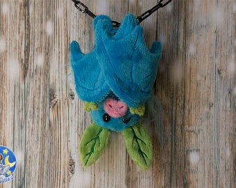 Turquoise fruit bat custom plushie