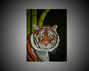 Tiger & Bamboo Original Acrylic Painting