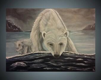 Polar Bears Large Acrylic Painting