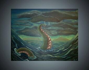 Stormy Kraken Original Acrylic Painting