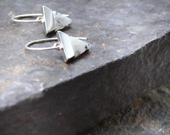 Silver Labradorite Earrings, Silver Triangle Earrings Dangle, Sterling Silver Geometric Earrings, Triangle Drops, Gray Earrings