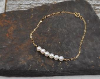 Classic Pearl Bracelet, Freshwater Pearl Bar, Real Pearl Bracelet, Bridal Bracelet, Wedding Jewelry, Bridesmaids Gift, Simple Chain Bracelet