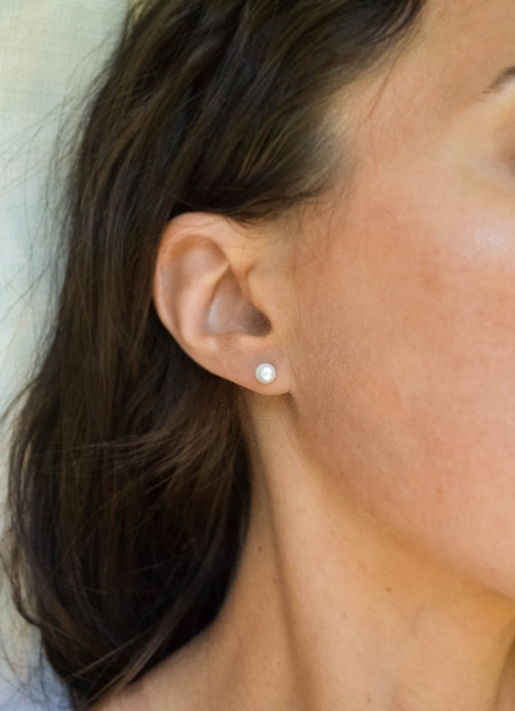 Pearl Earring Double Sided Studs Dainty Gift Idea for her 8mm Fresh Water Pearl