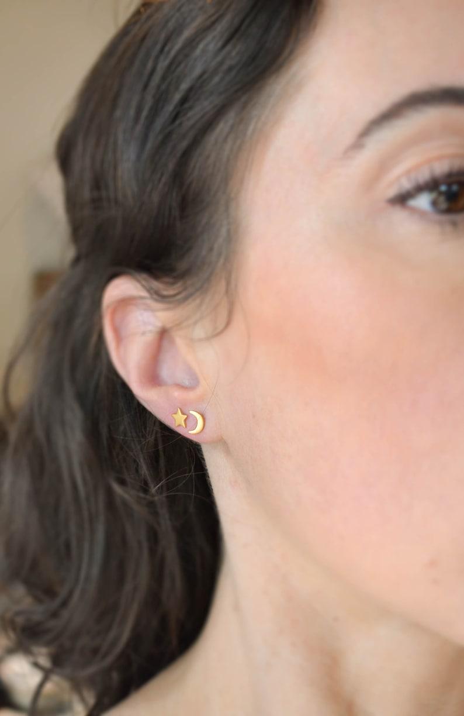 Mens Studs Gold Star Earring Gold Moon Earrings Gold Studs Matte Gold Star and Moon Earrings Unisex Stud Earrings Second Hole Earrings