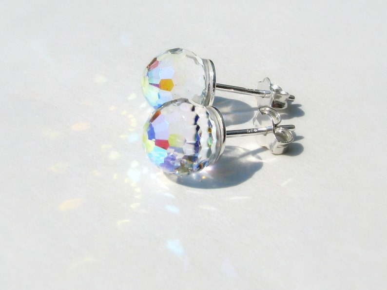 6383336b51a54 Sterling Silver Ball, Swarovski Crystal AB Earrings, Clear Crystal Ball  Earrings, Sterling Posts, Sparkle Ball Earrings, Disco Ball, Rainbow