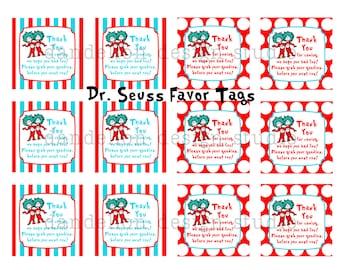 PRINTABLE Party OR Favor Tags - Dr Seuss Party Collection - Dandelion Design Studio