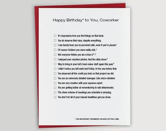 Funny Coworker Birthday Card