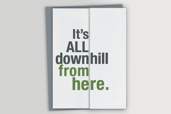 Funny 50th Birthday Card Downhill Over The Hill Foldout Etsy