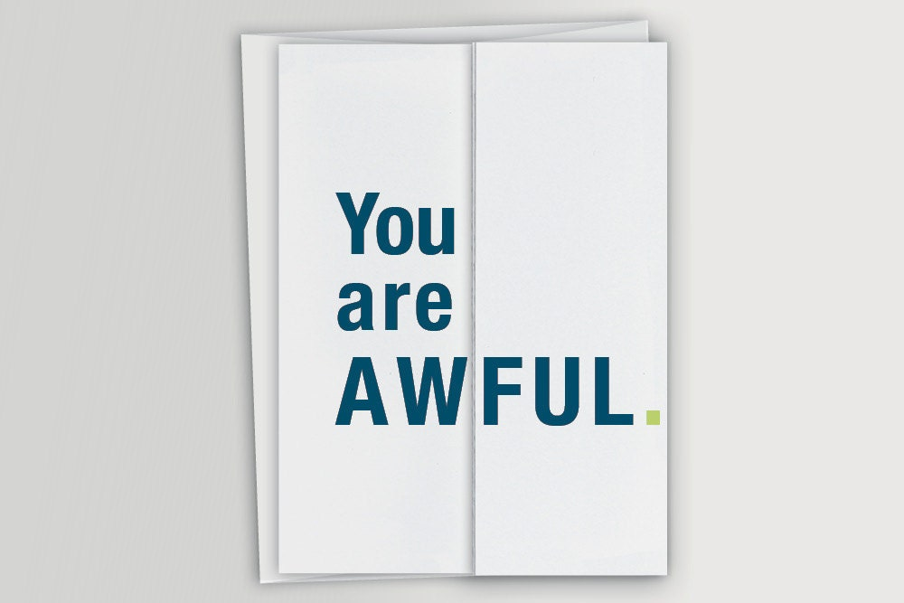 funny accordion fold card you are awful card funny etsy