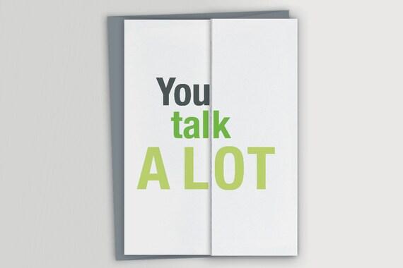 Funny Card For Big Talker Talk A Lot Funny Birthday Card Etsy