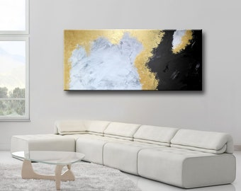 "72x32"" ORIGINAL ABSTRACT White Gray Gold Black Extra Large Painting on Canvas Abstract Modern Wall Art wall decor"