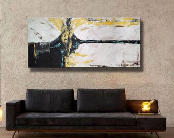 """72x32"""" Original Abstract Acrylic Painting Extra Large Yellow Black Gray White Mustard Mocca on Canvas Wall Art"""